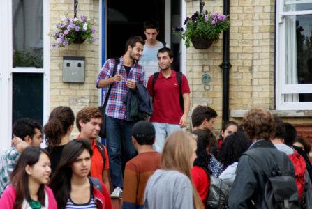 Cambridge_StudentsOutsideSchoolFront