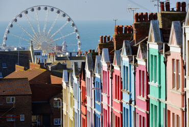 A rainbow of colourful painted houses in Brighton